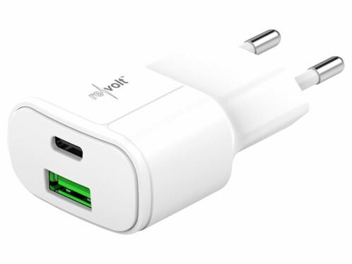 Chargeur secteur avec port USB-A Quick Charge et USB-C Power Delivery de 30 Watts.