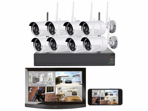 Système de surveillance sans fil VisorTech avec 8 caméras connectées à votre smartphone ou tablette numérique.