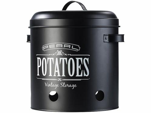 Lot de 3 pots de rangement rétro pour pommes de terre, oignons et ails.
