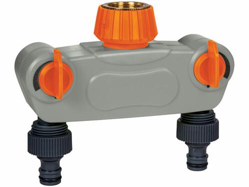 Répartiteur d'eau réglable à 2 voies avec raccord métallique.