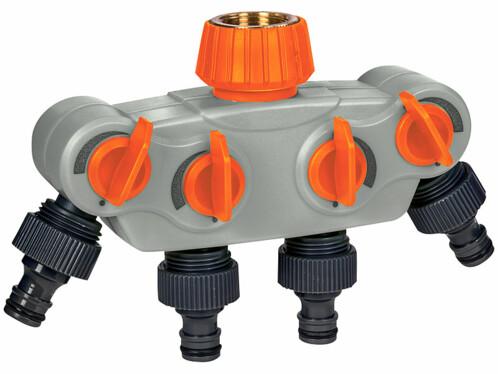 Répartiteur d'eau réglable à 4 voies avec raccord métallique.