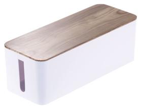 grande boite range-câble avec couvercle aspect bois parquet Callstel