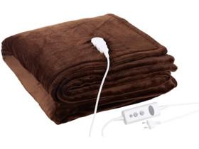 couverture chauffante avec minuterie en matiere polaire couleur brun chocolat wilson & gabor 180 x 200 cm