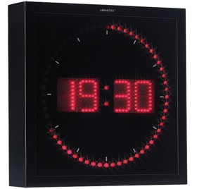 Horloge digitale murale avec 60 LED - Rouge