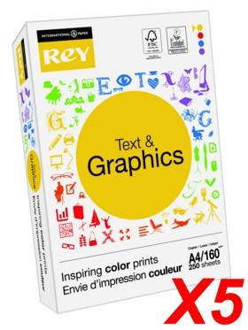 Lot de 5 ramettes de papier Rey ''Text&Graphics'' - 160 G