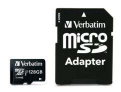 Carte micro SDXC avec adaptateur SD Verbatim - 128 Go