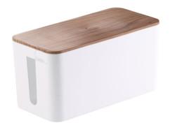petite boite range-câble avec couvercle aspect bois parquet Callstel