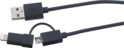 Câble 2 en 1 USB vers Micro-USB et 8 broches (iPhone 5 & 6)