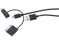 Câble 3 en 1 USB vers Micro-USB et 8 / 30 broches (iPhone 3 à 6)