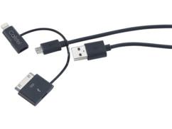 Câble 3 en 1 USB vers Micro-USB et 8 / 30 broches (iPhone 3 à 6)