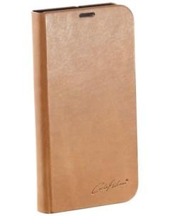 Étui folio en cuir véritable avec range-cartes pour Galaxy S5 - Brun