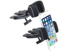 2 supports pour smartphone sur lecteur CD voiture