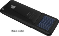 Chargeur solaire noir avec batterie pour iPhone