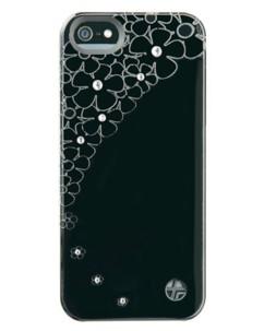 Coque cuir ''Crystal Flower'' pour iPhone 5 / 5S / SE – noir