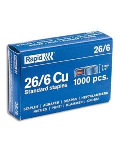 Boîte de 1000 agrafes galvanisées 6 mm 26/6 Rapid