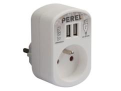 Chargeur secteur double USB avec report de prise