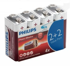 Pack de 4 Piles bloc 9V Philips