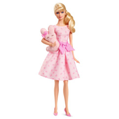 barbie collection it's a girl barbie enceinte avec robe rose et peluche lapin rose