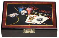coffret de jeu en bois laqué avec peinture et 2 jeux de 52 cartes à jouer pour poker belote 421 black jack