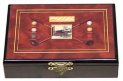 coffret de jeu en bois laqué avec peinture et 2 jeux de 52 cartes à jouer pour poker belote 421 black jack motif golf club balles