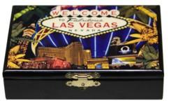 coffret de jeu en bois laqué avec peinture et 2 jeux de 52 cartes à jouer pour poker belote 421 black jack motif las vegas ballagio