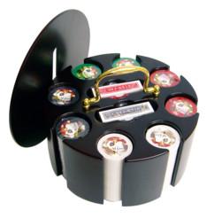 coffret de poker rond rotatif 200 jetons 4 couleurs hobby concept croupier cartes et jetons