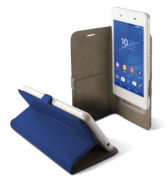 etui universel smartphone 6 pouces avec clapet folio et porte carte intérieur bleu Ksix