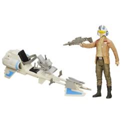 figurine articulée sergent poe dameron avec speeder bike star wars episode vii jouet hasbro
