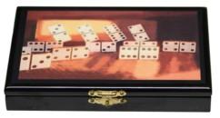boite en bois style marqueterie avec jeu de dominos motif dominos doubles