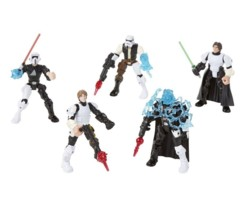 pack de 5 figurines hero mashers star wars luke skywalker dark vador han solo stormtrooper scout trooper