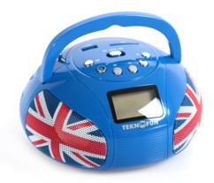 mini radio stéréo avec bluetooth et USB Teknofun mini boombox union jack