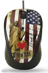 Mini souris Elypse Vogue - Filaire - Motif New York