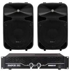 pack audio amplificateur 120 w saigor avec 2 haut parleurs 130 w vds10n hq power
