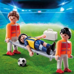 Playmobil : joueur de Foot blessé et brancardiers
