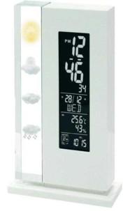 station météo design avec prévisions 12h luxland monolite inolt03 blanc
