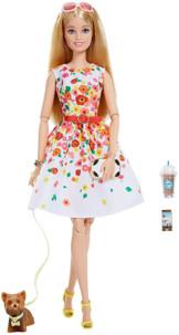 poupée barbie collection #thelookbarbie look printemps avec petit chien yorkshire café starbucks lunettes de soleil