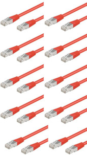 Câble RJ45 rouge cat5e F/UTP - 3m - x10
