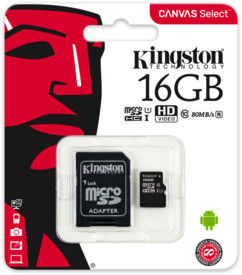 Carte Micro SD avec adaptateur Kingston Canvas Select 16 Go