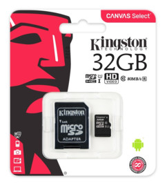 carte micro sd kingston canvas select 32go avec adaptateur microsd vers sd secure digital