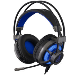 casque gaming bleu electrique avec extra bass et micro g-lab korp selenium