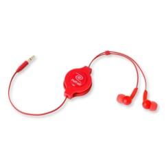Écouteurs intra-auriculaires rétractables rouges Retrak.
