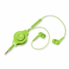 Écouteurs main-libre rétractables verts Retrak.