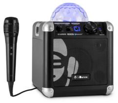 mini enceinte pour karaoké et guitare avec double entree micro et dome lumineux effets disco idance party cube bc10 noir
