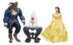 lot de figurines film la belle et la bete emma watson avec rose enchantée disney