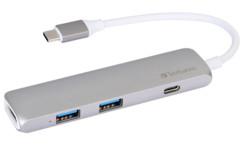 hub usb tyce c avec 2 ports usb 3.0 et port HDMI jusqu'à 4k verbatim en aluminium