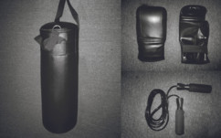 kit d'entrainement kick boxing boxe sac de frappe gants de boxe corde a sauter btx kit