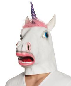 masque en latex licorne avec corne violette en plastique