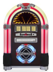 mini jukebox retro lecteur cd mp3 sd avec effets lumineux neon retro disco ricatech rr792
