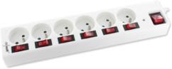 Multiprise parafoudre avec interrupteurs indépendants 6 ports - Blanc