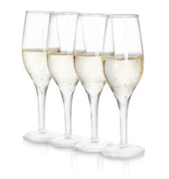 4 verres shooter forme flute de champagne en verre